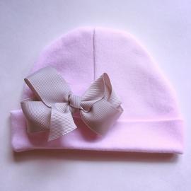 Babymutsje newborn - Roze met strik 8cm grijs