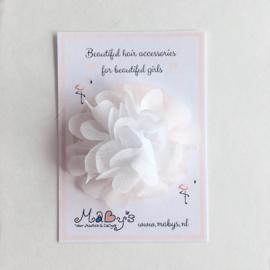 Haarspeldje met chiffon bloemetje - wit