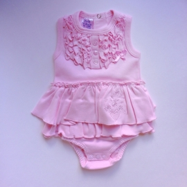 Baby Rompertje/Jurk - Roze met ruffles