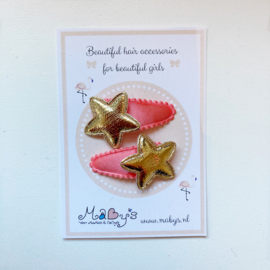 Baby haarspeldjes met gouden sterretjes - zalmoranje