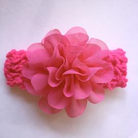 Haarbandje baby meisje gehaakt met bloem 10 cm - Fuchsia