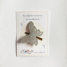 Haarspeldje vlinder - glitter zilver