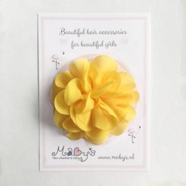 Haarspeld meisje met bloem - 10 cm geel