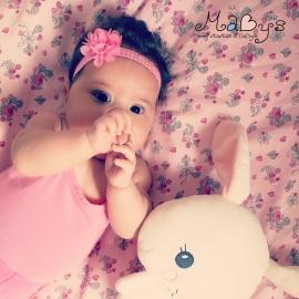 Haarbandje baby meisje - Polkadot roze met bloemetje roze 5 cm