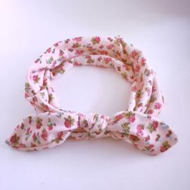Knoop haarbandje met bloemetjes - Roze
