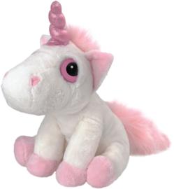 Unicorn knuffel - roze met wit