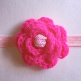 Haarbandje baby meisje gehaakt met bloem - Roze & Fuchsia