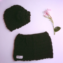 Winterset meisje Maby's - Muts en rok (zwart)