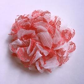 Haarclip baby meisje - Bloem (10 cm) wit/rood