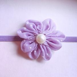 Haarbandje baby meisje - Parelbloemetje 5cm lila
