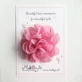 Haarspeld meisje met bloem - 10 cm donkerroze