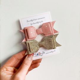Set van 2 glitter haarstrikken - goud en roze