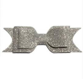 Glitter strik - zilver