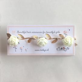Ibiza flower headband - goud met creme roosjes