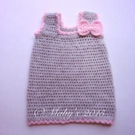 Gehaakt jurkje Maby's - Grijs met roze