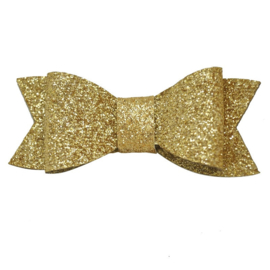 Haarspeldje met glitter strik - Goud