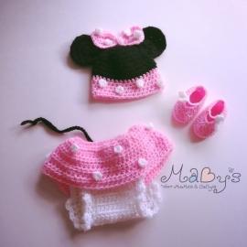 Minnie Mouse set Maby's - Muts, broekje en sloffen