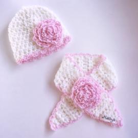 Meisjes wintermuts & sjaal - Wit met Roze
