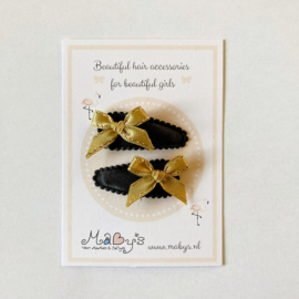 Baby haarspeldjes met gouden strikje - zwart