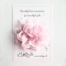 Haarspeld baby meisje met bloem 10 cm - Lichtroze