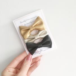 Set van 3 feestelijke haarspeldjes - Goud, champagne zwart