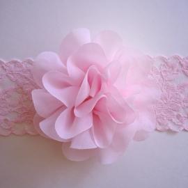Haarbandje baby/meisje - Kant met bloem (cm) Lichtroze