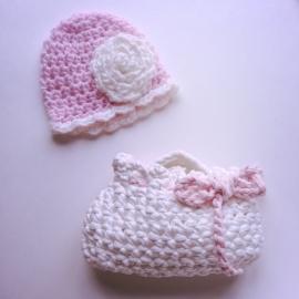 Set meisje Maby's - Muts en tas (roze/wit)