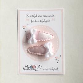 Baby haarspeldjes roze - strikje wit