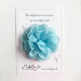 Haarspeld meisje met bloem - 10 cm blauw