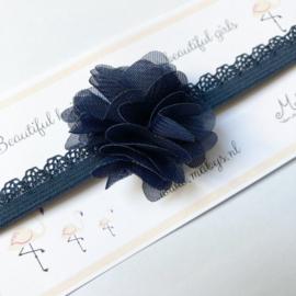 Haarbandje met chiffon bloemetje - navy/donkerblauw