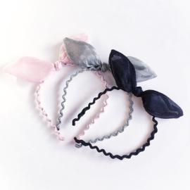 Diadeem met strik - Roze, grijs of zwart