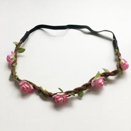 Ibiza haarbandje - Gevlochten met roze bloemetjes