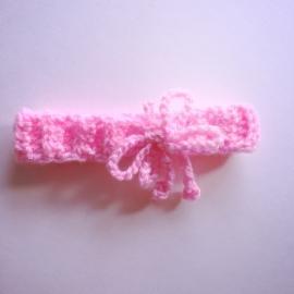 Gehaakt haarbandje Maby's - Roze met vlinder