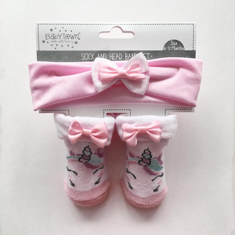 Baby unicorn sokjes met bijpassende haarband - roze
