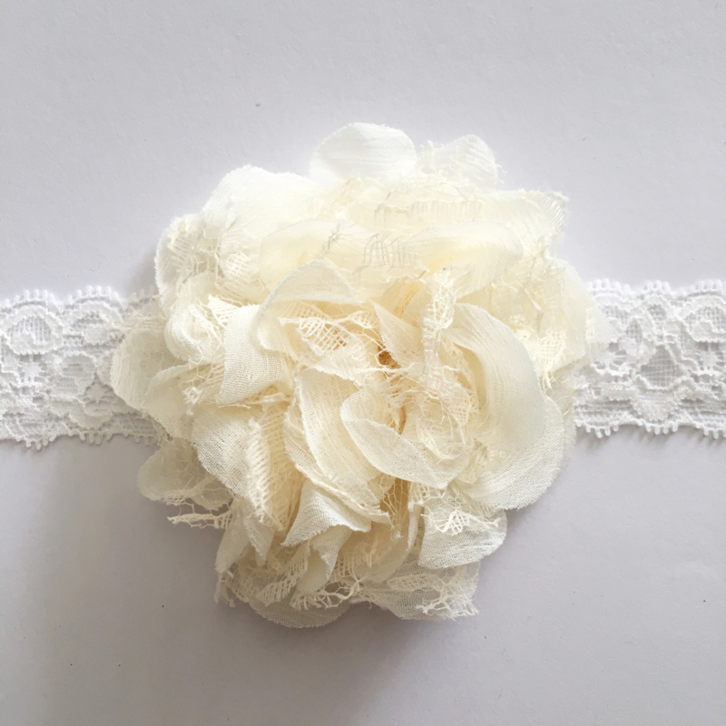 Haarbandje kant - Bloem 8-10 cm creme