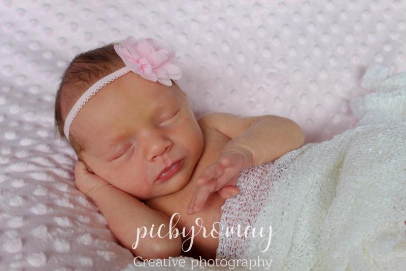 Baby haarbandje roze - chiffon bloemetje 5 cm