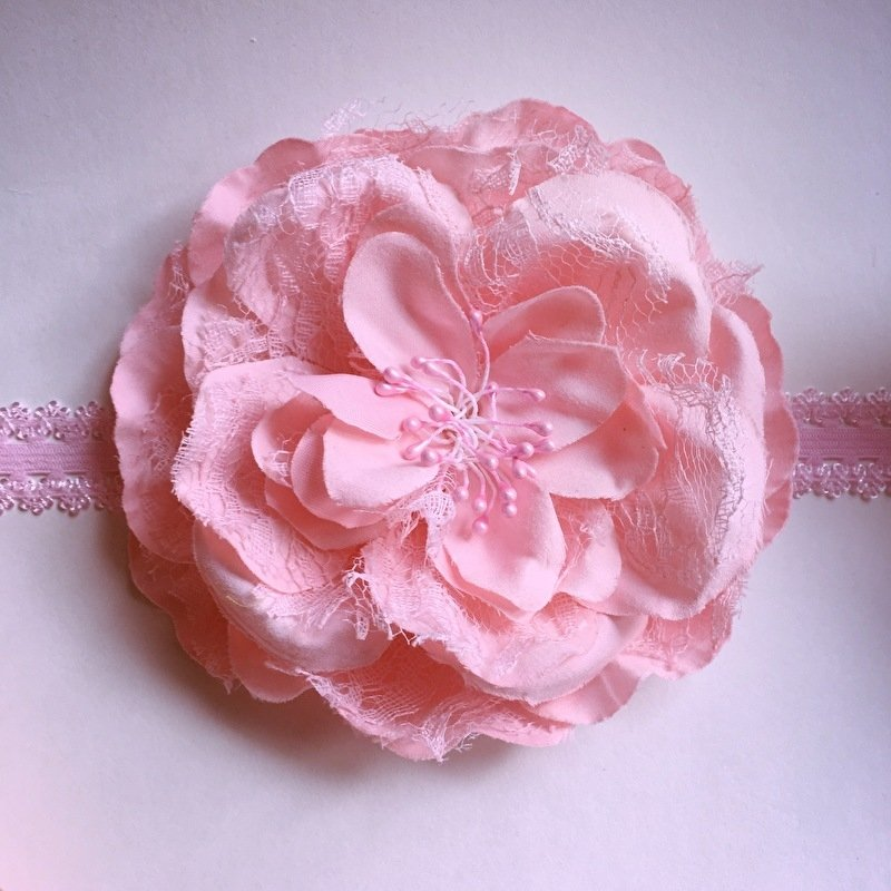 Haarbandje baby meisje - Bloem (12 cm) roze