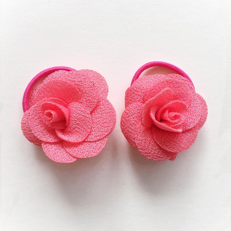 Haarelastiekjes baby meisje - roosjes fuchsia