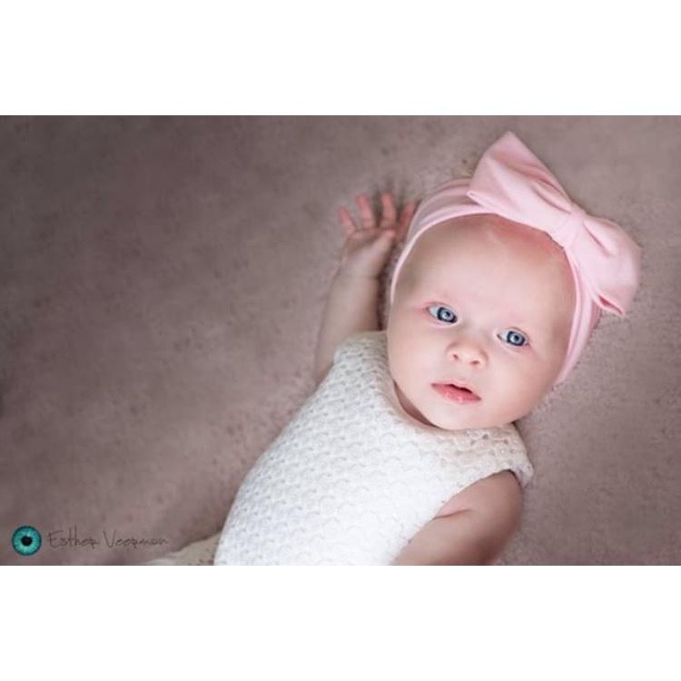 Haarbandje baby meisje - zacht stofje strik roze