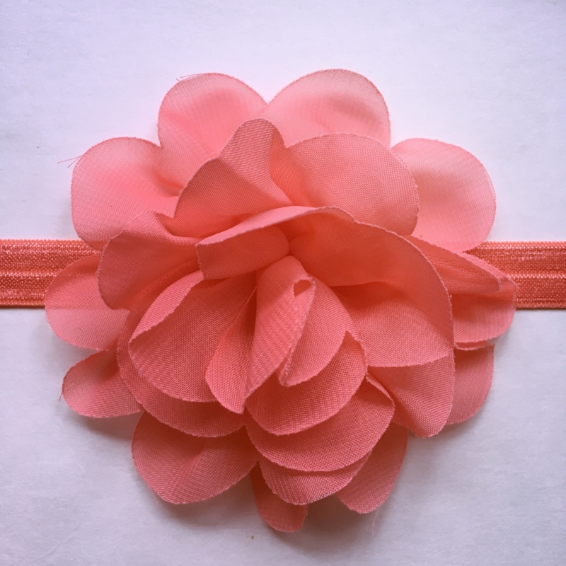 Haarbandje baby meisje - Bloem 10 cm koraal