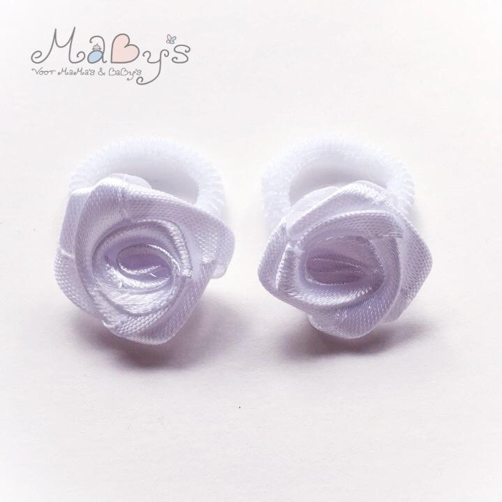 Baby haarelastiekjes met roos - wit
