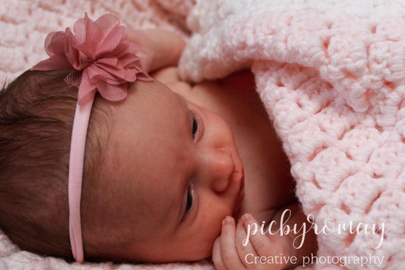 Baby haarbandje newborn nylon - bloem oud roze