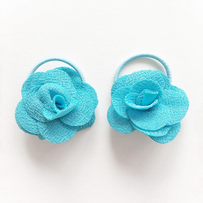 Haarelastiekjes baby meisje - roosjes blauw