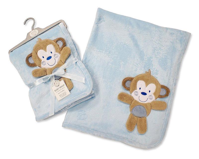 Dekentje baby - Blauw met aapje