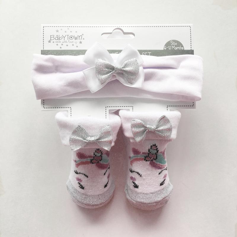 Baby unicorn sokjes met bijpassende haarband - wit