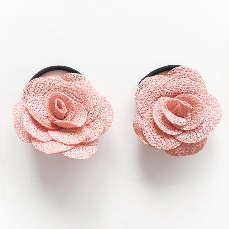 Haarelastiekjes baby meisje met roosjes - zalmroze