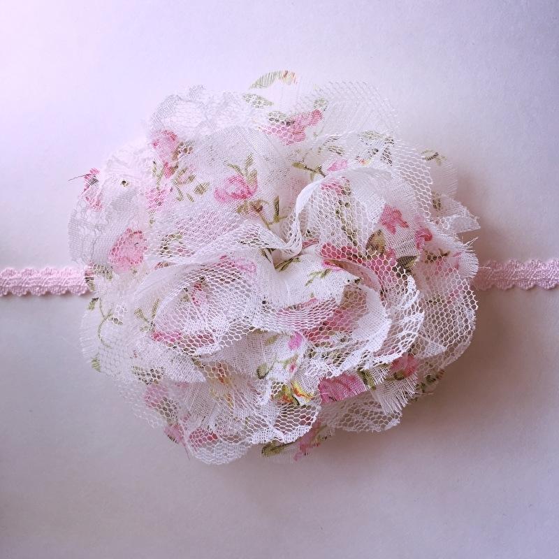 Haarbandje baby meisje - Bloem (10 cm) bloemenmotiefje