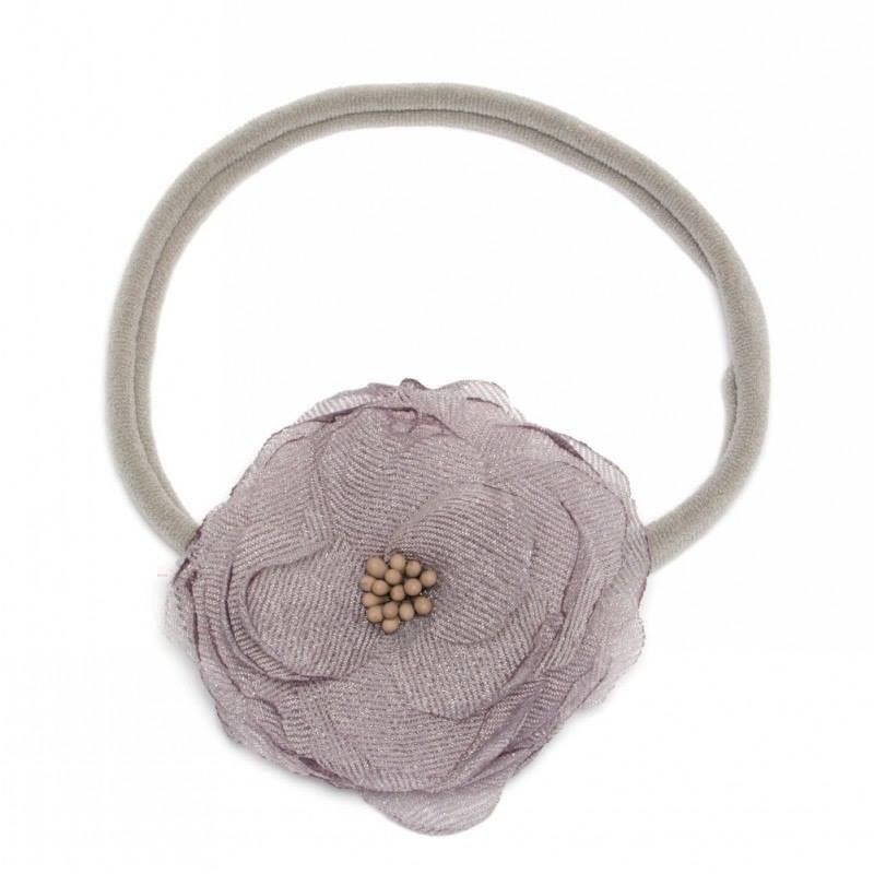 Newborn baby haarbandje met chique bloem - grijs