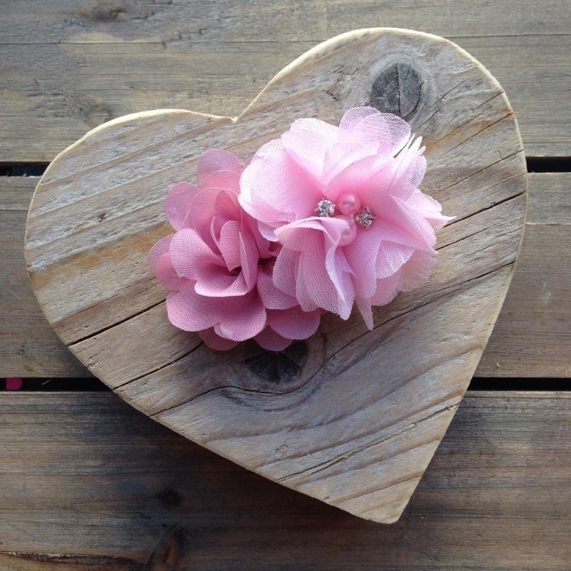 Haarclip - Oudpaars en roze met parelbloem