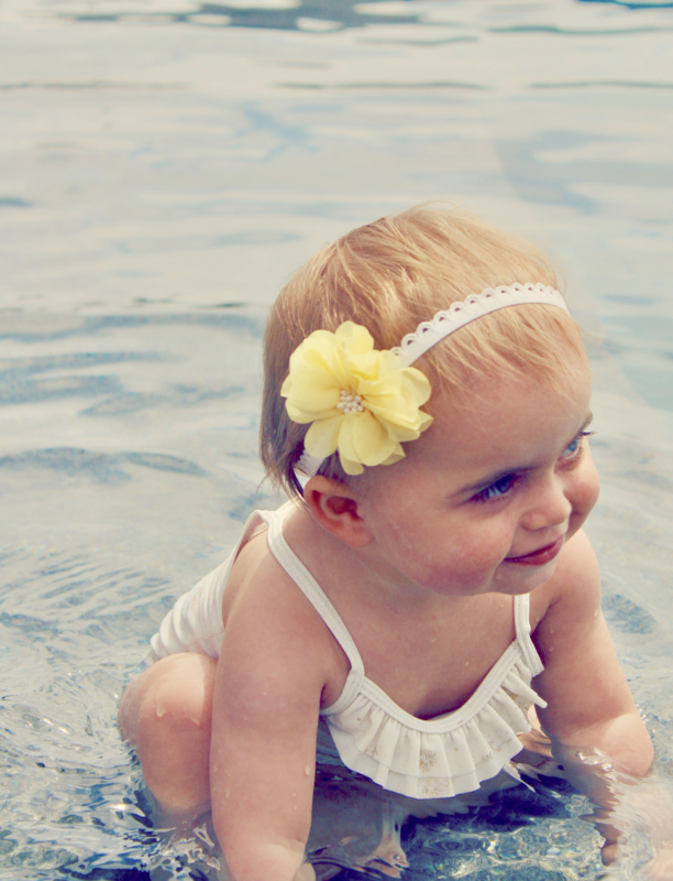 Haarbandje met bloem - Geel